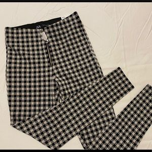 NWT Zara Gingham Leggings High Rise